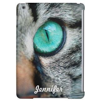 Nära övre för beställnings- unik gröna katt öga