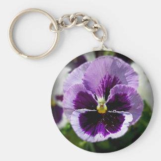 Nära övre för purpurfärgad Pansy Rund Nyckelring