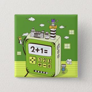 Närbild av byggnader på en räknemaskin standard kanpp fyrkantig 5.1 cm