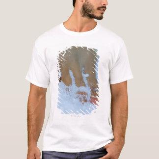 Närbild av en kvinna fot i salt tshirts