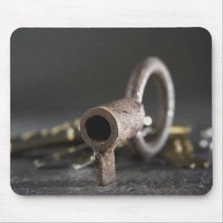 Närbild av en nyckel i en nyckelring musmatta