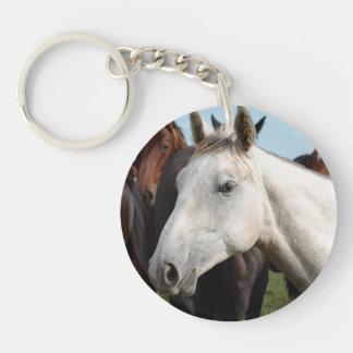Närbildflock av horses. rund enkelsidig nyckelring i akryl