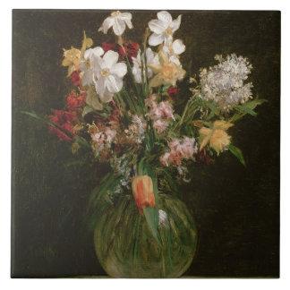 Narcisses Blancs, Jacinthes et Tulipes, 1864 Kakelplatta