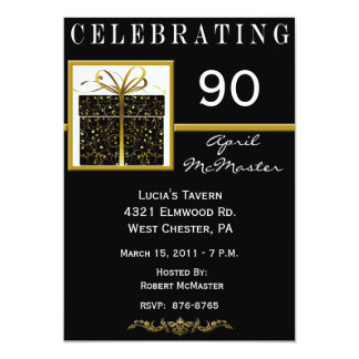 Närvarande 90:e födelsedagsfest inbjudan för