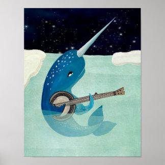 Narwhals Aquarelle - Narwhal som leker banjoen Poster