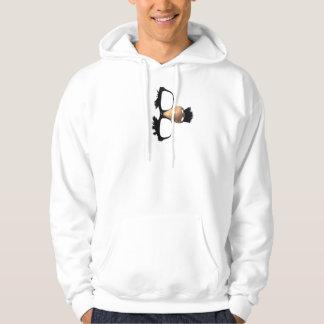 Näsa och mustasch sweatshirt med luva