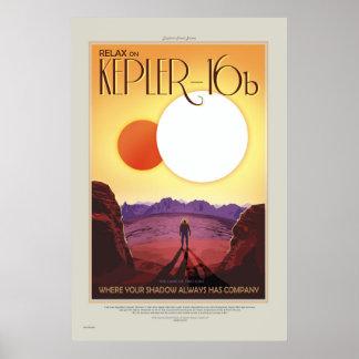 NASA Retro ExoPlanet turnerar Kepler-16b reser Poster