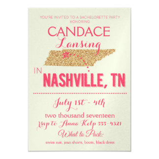 Nashville guld- Bachelorette partyinbjudan 12,7 X 17,8 Cm Inbjudningskort