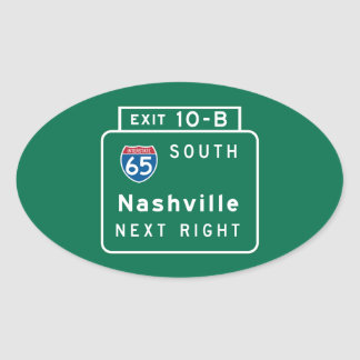 Nashville TN-vägmärke Ovalt Klistermärke