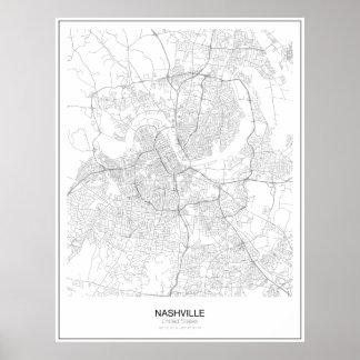 Nashville United States Minimalist kartaaffisch Poster