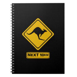 nästa 10 km kängurur anteckningsbok med spiral