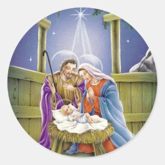 Nativity av Jesus med Josef och Mary Runt Klistermärke