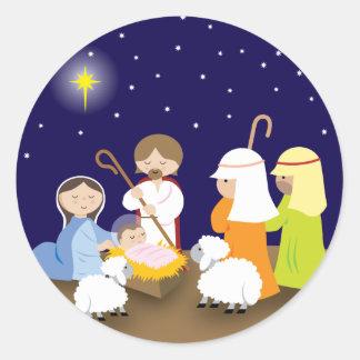 Nativity av lorden runt klistermärke