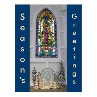 Nativity för för vintagemålat glassfönster & jul vykort