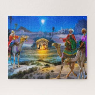 Nativityhelgdagpimpeln sågar med tre kungar pussel
