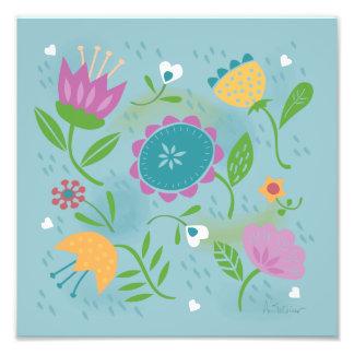Nätt April duschar pastellfärgad Retro blommigt Fototryck