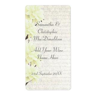 Nätt blek - gul blom- bröllopvinflaska fraktsedel