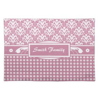 Nätt blom- damast för Retro rosig rosa 30-tal Bordstablett