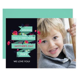 Nätt blom- mors dagfotokort 12,7 x 17,8 cm inbjudningskort