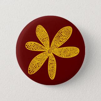 Nätt blomma - bärnsten på mörkt rödbrunt standard knapp rund 5.7 cm