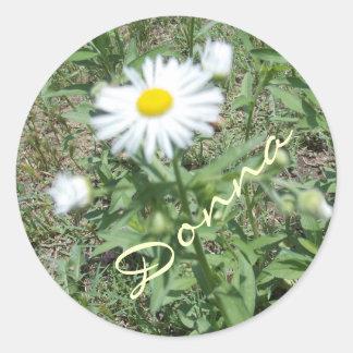 nätt blommaklistermärkear för girl. runt klistermärke