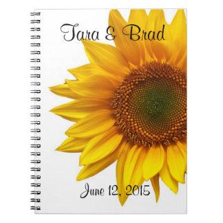 Nätt bok för solrosbröllopgäst anteckningsbok med spiral