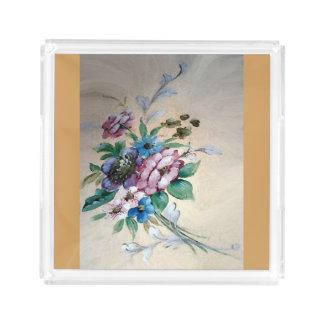 """Nätt `-bukett av blomma"""" akrylmagasin bricka"""