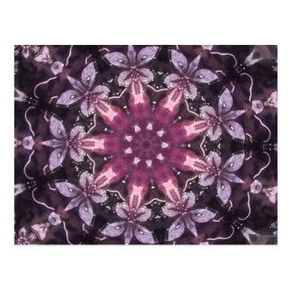 Nätt Burgundy svart blom- Mandala Vykort