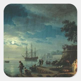 Natt: En port i månsken, 1748 Fyrkantigt Klistermärke