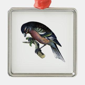 Nätt fågel på gren julgransprydnad metall