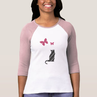 Nätt fjärils- och kattutslagsplatsskjorta t-shirts