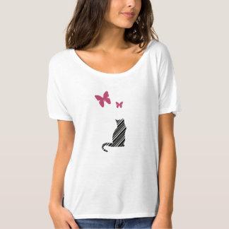 Nätt fjärils- och kattutslagsplatsskjorta tröja