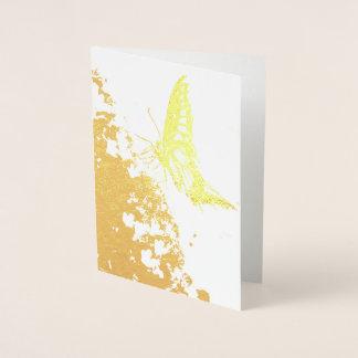 nätt fjärilsguld omkullkastar kortet folierat kort