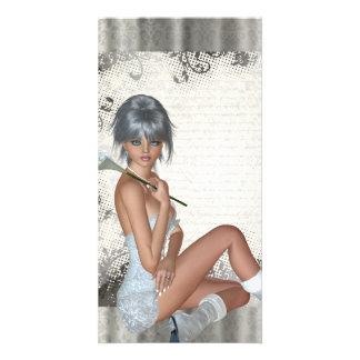 Nätt flicka- och silverdamast fotokort