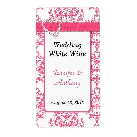 Nätt för bröllopvin för rosor & för vit damastast  fraktsedel