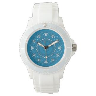 Nätt geometriska blått och vit armbandsur