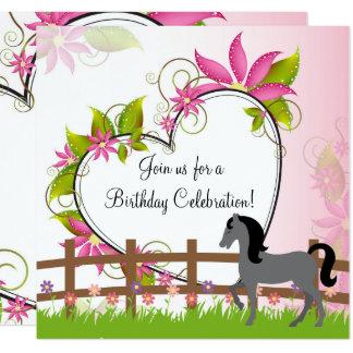 Nätt grå färghäst, blommor, fyrkantigt 13,3 cm inbjudningskort