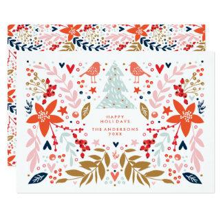 Nätt helgdagkort för blom- jul 12,7 x 17,8 cm inbjudningskort
