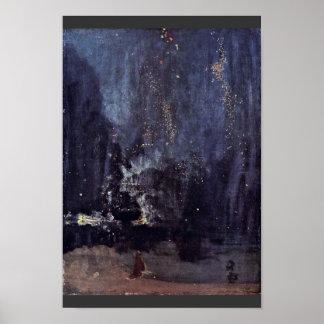 Natt i svart och guld det fallande raket vid Jame Poster