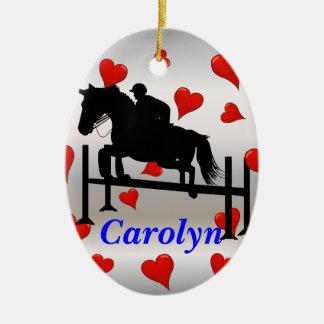 Nätt jägarejumperhäst & ryttare julgransprydnad keramik