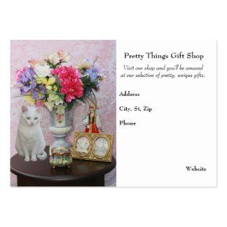 Nätt katt/blommor/presentaffär set av breda visitkort