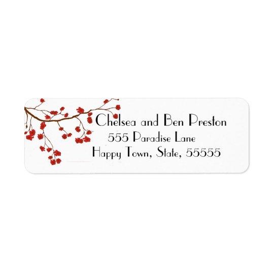 Nätt körsbärsröda blommarblommor returadress etikett