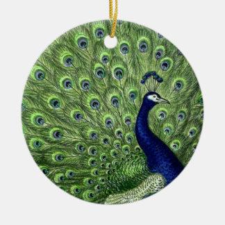 Nätt påfågel rund julgransprydnad i keramik