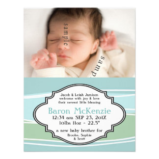 Nätt pastellfärgad nyfödd bebisPOJKE med födelsefo Unika Inbjudningar