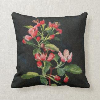 Nätt prärie Crabapple svart och rosa blommigt Kudde