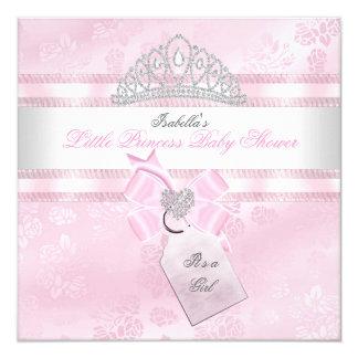 Nätt Princess Damast 3 för baby showerflicka lite Fyrkantigt 13,3 Cm Inbjudningskort