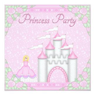 Nätt Princess & rosa Princess Festa för slott Fyrkantigt 13,3 Cm Inbjudningskort