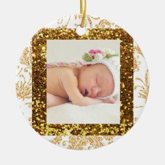 Nätt prydnad för jul för foto för Fauxglitterbaby Julgransprydnad Keramik