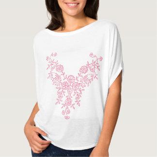 Nätt rosa blom- design tee shirt