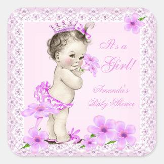 Nätt rosa blommigt för vintagebaby showerflicka fyrkantigt klistermärke
